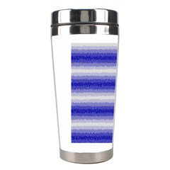 Horizontal Dark Blue Curly Stripes Stainless Steel Travel Tumbler