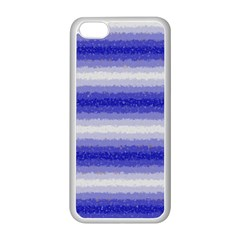 Horizontal Dark Blue Curly Stripes Apple iPhone 5C Seamless Case (White)