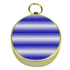Horizontal Dark Blue Curly Stripes Gold Compass
