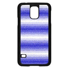 Horizontal Dark Blue Curly Stripes Samsung Galaxy S5 Case (black)