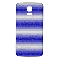 Horizontal Dark Blue Curly Stripes Samsung Galaxy S5 Back Case (White)