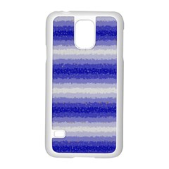 Horizontal Dark Blue Curly Stripes Samsung Galaxy S5 Case (White)