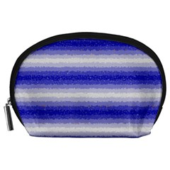 Horizontal Dark Blue Curly Stripes Accessory Pouch (Large)