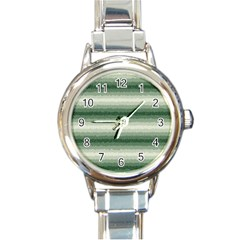 Horizontal Dark Green Curly Stripes Round Italian Charm Watch