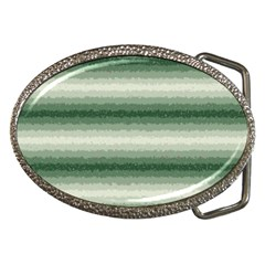 Horizontal Dark Green Curly Stripes Belt Buckle (oval)
