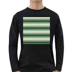 Horizontal Dark Green Curly Stripes Men s Long Sleeve T Shirt (dark Colored)