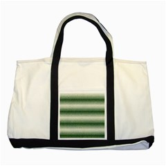Horizontal Dark Green Curly Stripes Two Toned Tote Bag
