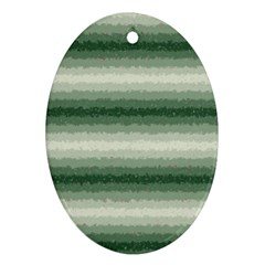 Horizontal Dark Green Curly Stripes Oval Ornament (two Sides)