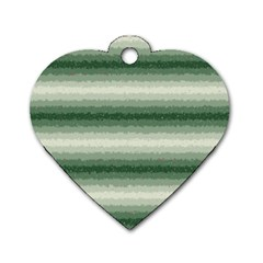 Horizontal Dark Green Curly Stripes Dog Tag Heart (two Sided)