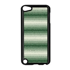 Horizontal Dark Green Curly Stripes Apple iPod Touch 5 Case (Black)