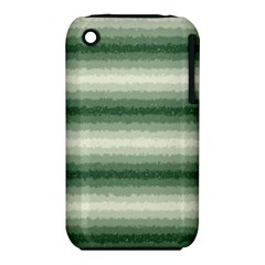 Horizontal Dark Green Curly Stripes Apple Iphone 3g/3gs Hardshell Case (pc+silicone)