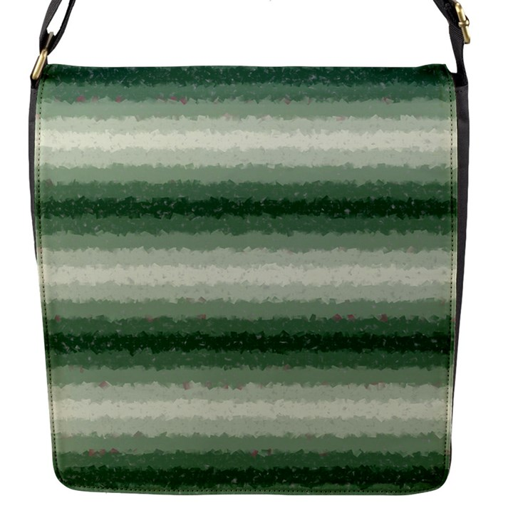 Horizontal Dark Green Curly Stripes Flap Closure Messenger Bag (Small)