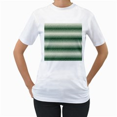 Horizontal Dark Green Curly Stripes Women s T-Shirt (White)