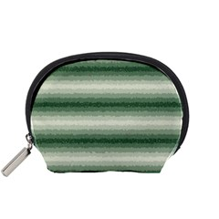 Horizontal Dark Green Curly Stripes Accessory Pouch (small)