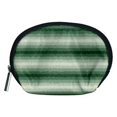 Horizontal Dark Green Curly Stripes Accessory Pouch (medium)
