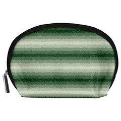 Horizontal Dark Green Curly Stripes Accessory Pouch (Large)