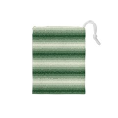 Horizontal Dark Green Curly Stripes Drawstring Pouch (Small)