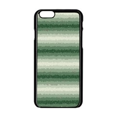 Horizontal Dark Green Curly Stripes Apple iPhone 6 Black Enamel Case