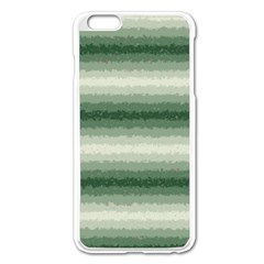 Horizontal Dark Green Curly Stripes Apple iPhone 6 Plus Enamel White Case