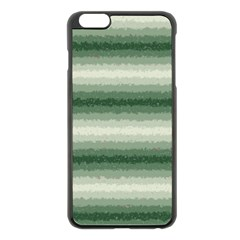 Horizontal Dark Green Curly Stripes Apple iPhone 6 Plus Black Enamel Case