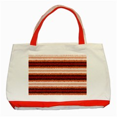 Horizontal Native American Curly Stripes - 1 Classic Tote Bag (Red)