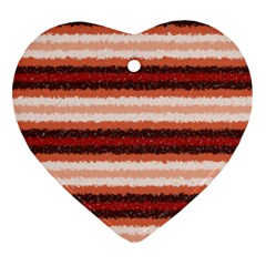 Horizontal Native American Curly Stripes - 1 Heart Ornament (Two Sides)