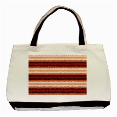 Horizontal Native American Curly Stripes   1 Twin Sided Black Tote Bag