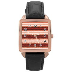 Horizontal Native American Curly Stripes   1 Rose Gold Leather Watch