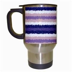 Horizontal Native American Curly Stripes   2 Travel Mug (white)