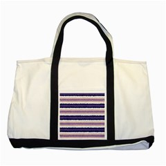 Horizontal Native American Curly Stripes - 2 Two Toned Tote Bag