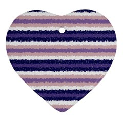 Horizontal Native American Curly Stripes   2 Heart Ornament (two Sides)