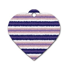 Horizontal Native American Curly Stripes   2 Dog Tag Heart (two Sided)