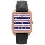 Horizontal Native American Curly Stripes - 2 Rose Gold Leather Watch  Front