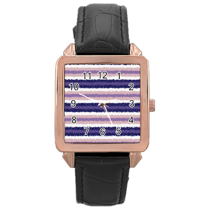 Horizontal Native American Curly Stripes - 2 Rose Gold Leather Watch