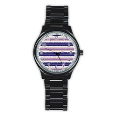 Horizontal Native American Curly Stripes - 2 Sport Metal Watch (Black)