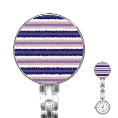 Horizontal Native American Curly Stripes   2 Stainless Steel Nurses Watch