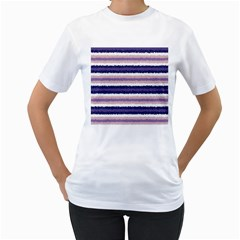 Horizontal Native American Curly Stripes   2 Women s T Shirt (white)