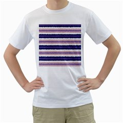 Horizontal Native American Curly Stripes   2 Men s T Shirt (white)