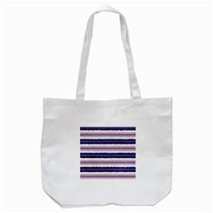 Horizontal Native American Curly Stripes - 2 Tote Bag (White)