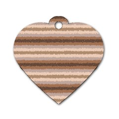Horizontal Native American Curly Stripes - 3 Dog Tag Heart (One Sided)