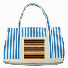 Horizontal Native American Curly Stripes - 4 Blue Striped Tote Bag