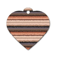 Horizontal Native American Curly Stripes   4 Dog Tag Heart (one Sided)