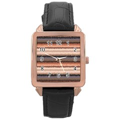 Horizontal Native American Curly Stripes - 4 Rose Gold Leather Watch