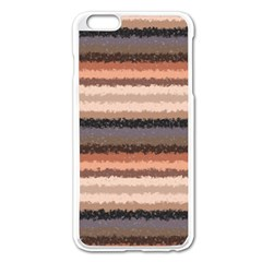 Horizontal Native American Curly Stripes - 4 Apple iPhone 6 Plus Enamel White Case