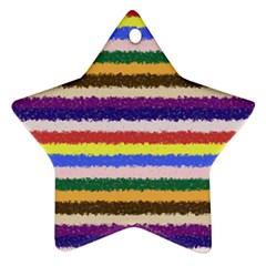 Horizontal Vivid Colors Curly Stripes   1 Star Ornament