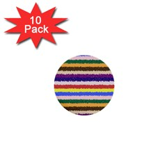 Horizontal Vivid Colors Curly Stripes   1 1  Mini Button (10 Pack)