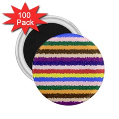 Horizontal Vivid Colors Curly Stripes   1 2 25  Button Magnet (100 Pack)