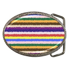 Horizontal Vivid Colors Curly Stripes   1 Belt Buckle (oval)