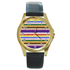 Horizontal Vivid Colors Curly Stripes   1 Round Leather Watch (gold Rim)