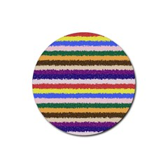Horizontal Vivid Colors Curly Stripes   1 Drink Coasters 4 Pack (round)